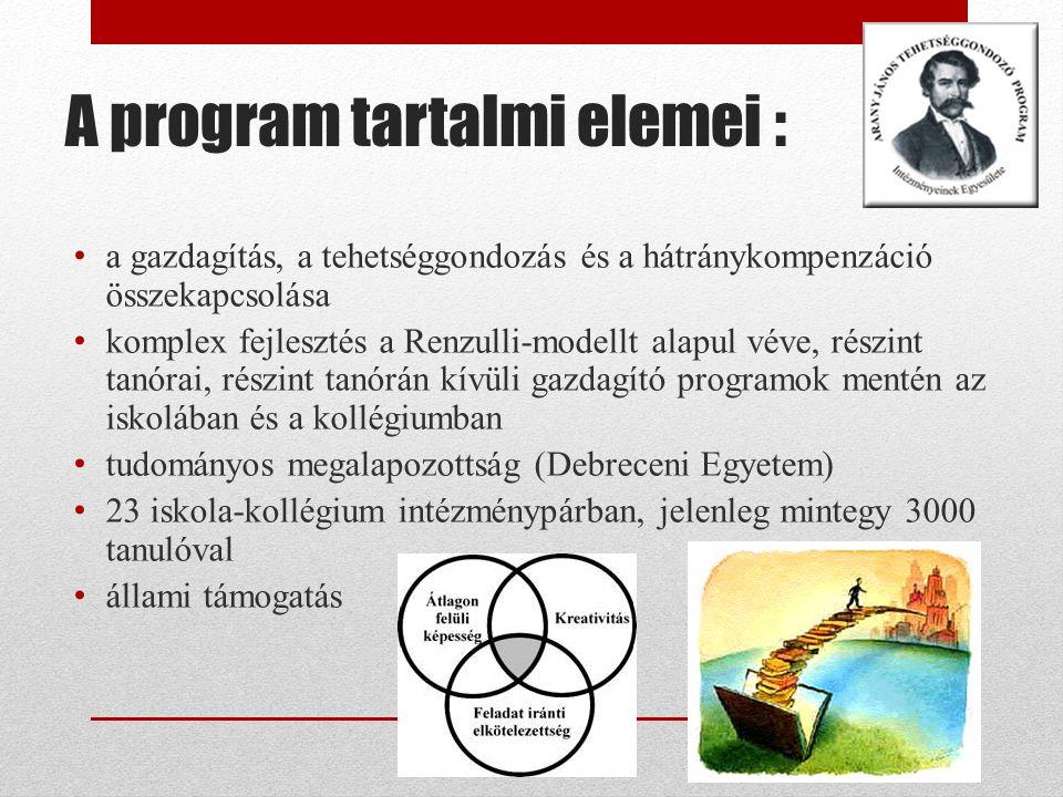 A program tartalmi elemei : a gazdagítás, a tehetséggondozás és a hátránykompenzáció összekapcsolása komplex fejlesztés a Renzulli-modellt alapul véve, részint tanórai, részint tanórán kívüli gazdagító programok mentén az iskolában és a kollégiumban tudományos megalapozottság (Debreceni Egyetem) 23 iskola-kollégium intézménypárban, jelenleg mintegy 3000 tanulóval állami támogatás