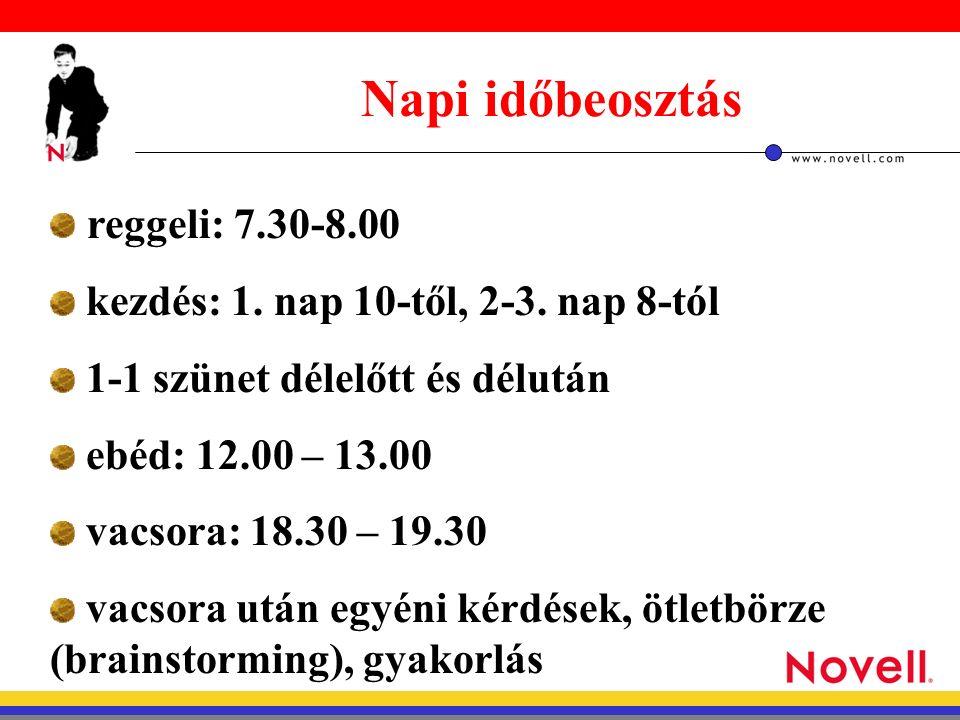 reggeli: 7.30-8.00 kezdés: 1. nap 10-től, 2-3.
