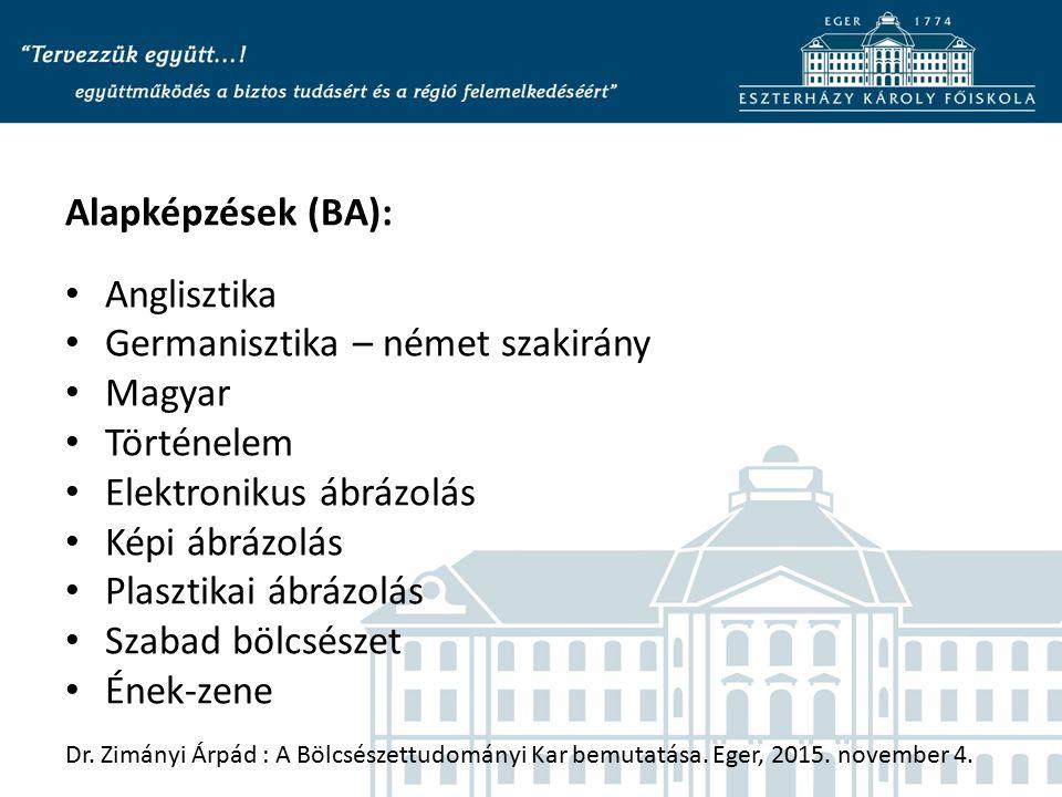 Alapképzések (BA): Anglisztika Germanisztika – német szakirány Magyar Történelem Elektronikus ábrázolás Képi ábrázolás Plasztikai ábrázolás Szabad böl