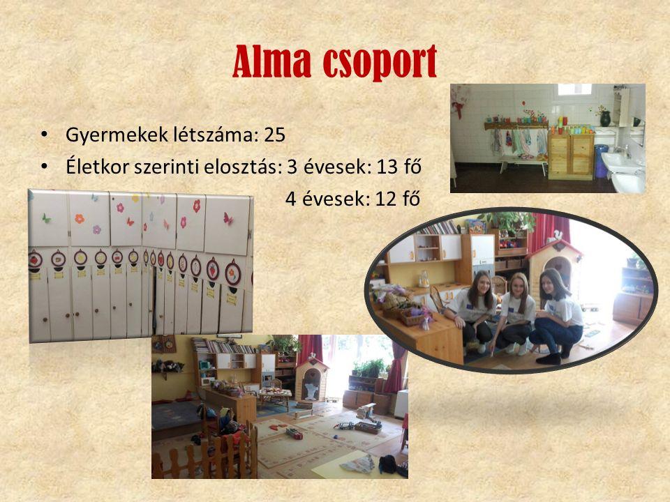 Alma csoport Gyermekek létszáma: 25 Életkor szerinti elosztás: 3 évesek: 13 fő 4 évesek: 12 fő