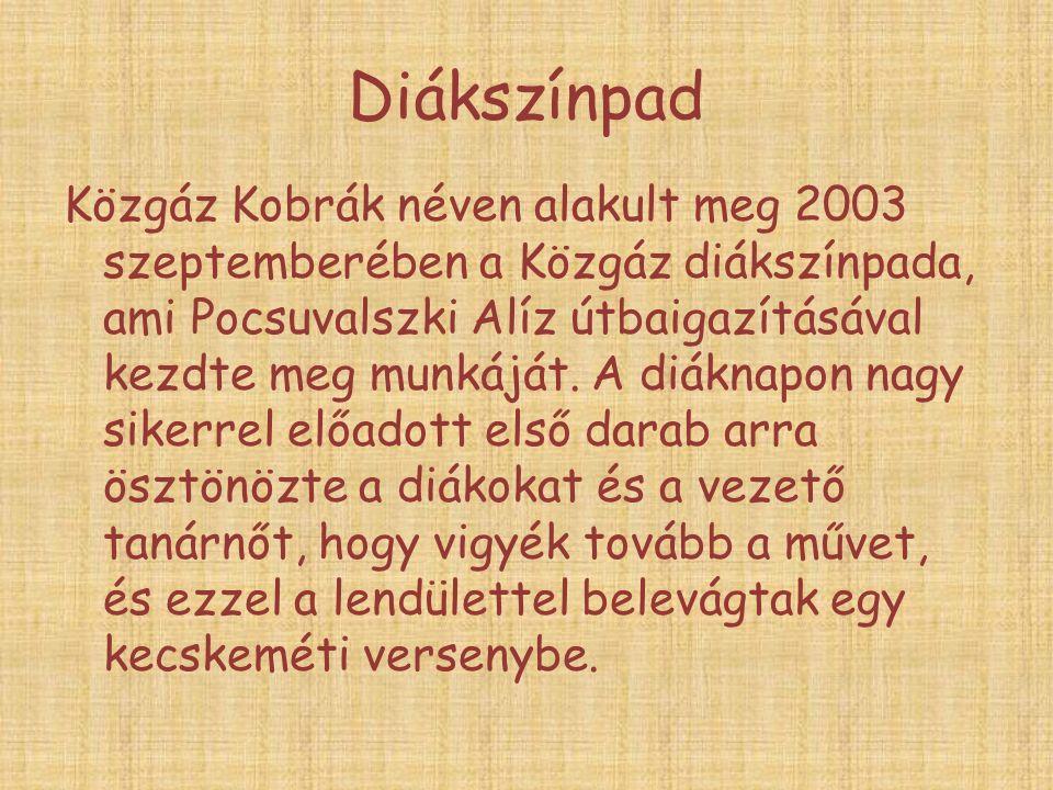 Diákszínpad Közgáz Kobrák néven alakult meg 2003 szeptemberében a Közgáz diákszínpada, ami Pocsuvalszki Alíz útbaigazításával kezdte meg munkáját.