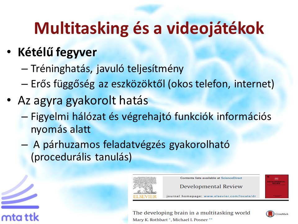 Multitasking és a videojátékok Kétélű fegyver – Tréninghatás, javuló teljesítmény – Erős függőség az eszközöktől (okos telefon, internet) Az agyra gyakorolt hatás – Figyelmi hálózat és végrehajtó funkciók információs nyomás alatt – A párhuzamos feladatvégzés gyakorolható (procedurális tanulás)