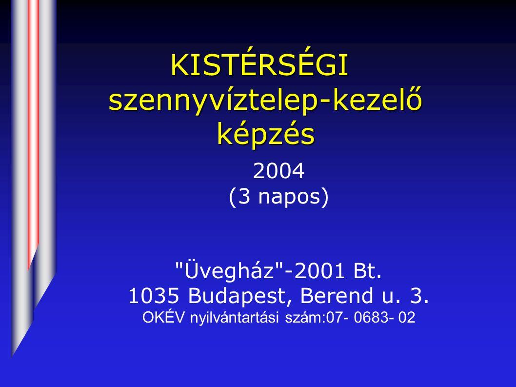 KISTÉRSÉGI szennyvíztelep-kezelő képzés 2004 (3 napos) Üvegház -2001 Bt.