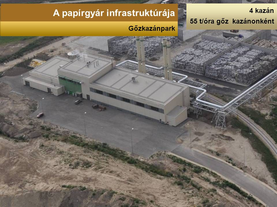4 kazán 55 t/óra gőz kazánonként A papírgyár infrastruktúrája Gőzkazánpark