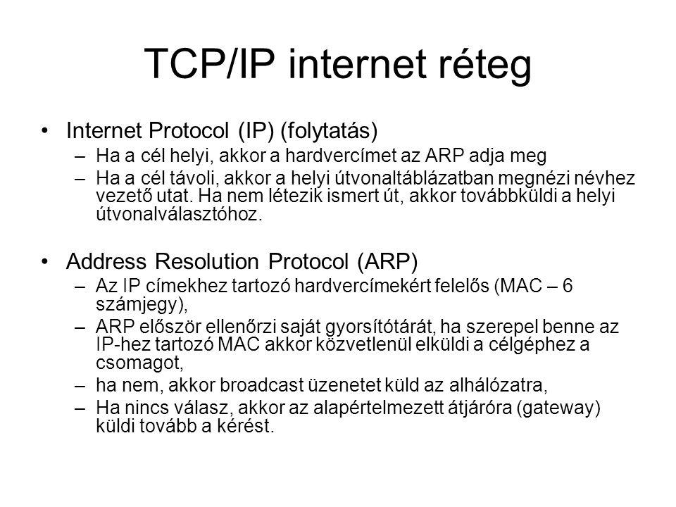 TCP/IP internet réteg Internet Protocol (IP) (folytatás) –Ha a cél helyi, akkor a hardvercímet az ARP adja meg –Ha a cél távoli, akkor a helyi útvonaltáblázatban megnézi névhez vezető utat.