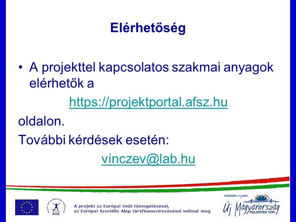 A projekt az Európai Unió támogatásával, az Európai Szociális Alap társfinanszírozásával valósul meg Elérhetőség A projekttel kapcsolatos szakmai anyagok elérhetők a https://projektportal.afsz.hu oldalon.
