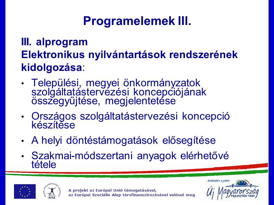 A projekt az Európai Unió támogatásával, az Európai Szociális Alap társfinanszírozásával valósul meg Programelemek III.
