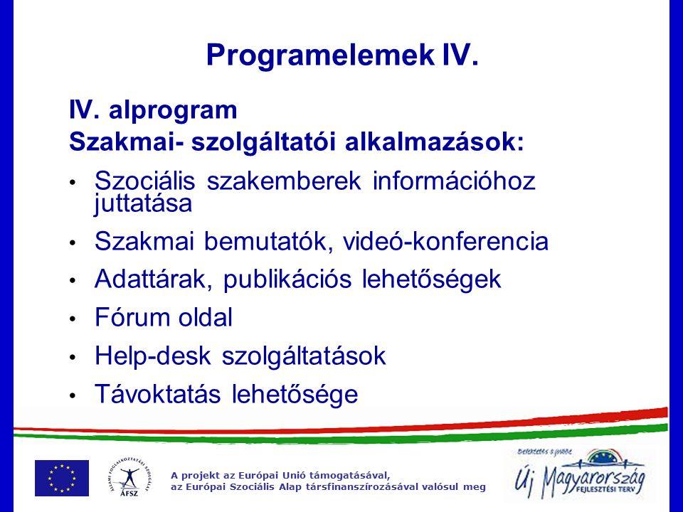 A projekt az Európai Unió támogatásával, az Európai Szociális Alap társfinanszírozásával valósul meg Programelemek IV.