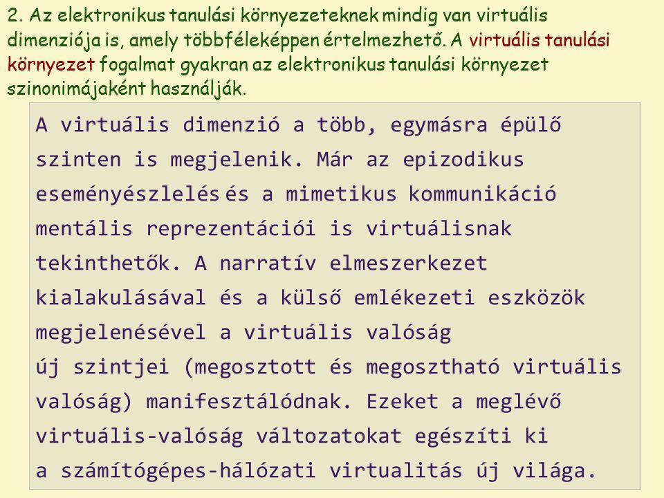 2. Az elektronikus tanulási környezeteknek mindig van virtuális dimenziója is, amely többféleképpen értelmezhető. A virtuális tanulási környezet fogal
