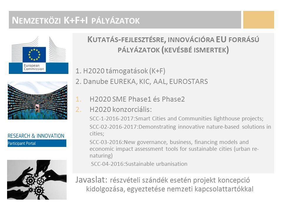 N EMZETKÖZI K+F+I PÁLYÁZATOK K UTATÁS - FEJLESZTÉSRE, INNOVÁCIÓRA EU FORRÁSÚ PÁLYÁZATOK ( KEVÉSBÉ ISMERTEK ) 1.