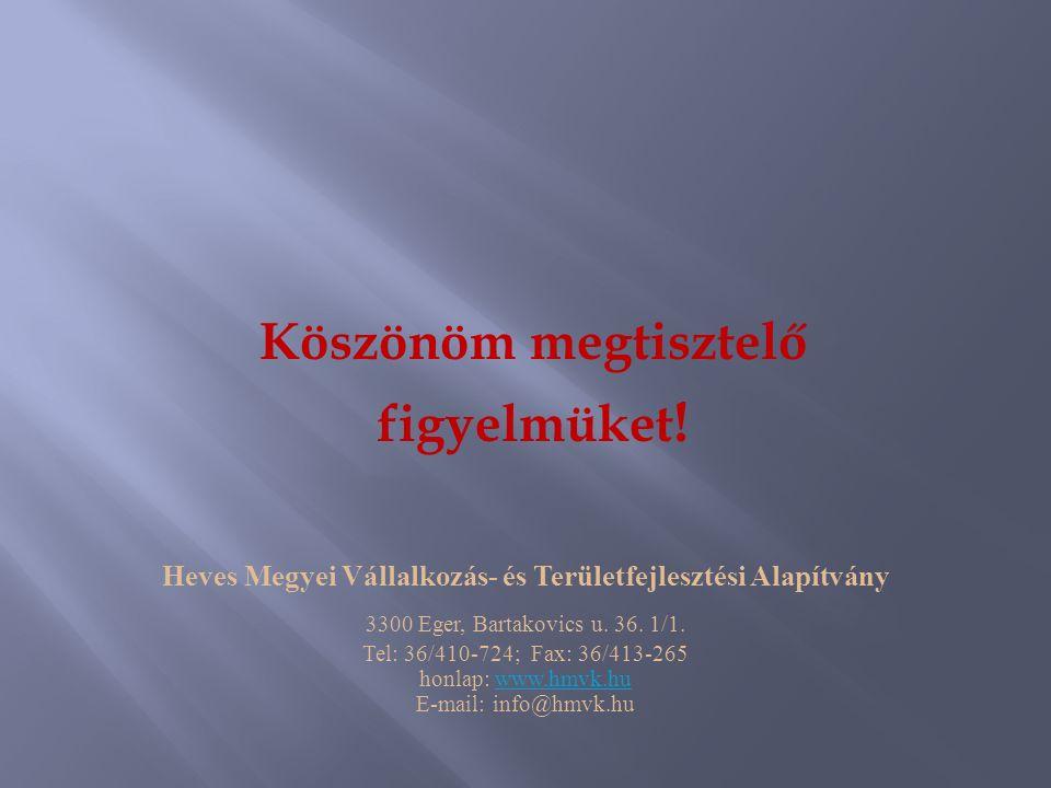 Köszönöm megtisztelő figyelmüket ! Heves Megyei Vállalkozás- és Területfejlesztési Alapítvány 3300 Eger, Bartakovics u. 36. 1/1. Tel: 36/410-724; Fax: