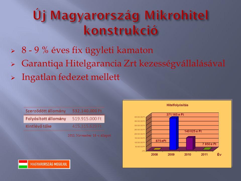  8 - 9 % éves fix ügyleti kamaton  Garantiqa Hitelgarancia Zrt kezességvállalásával  Ingatlan fedezet mellett 2011.