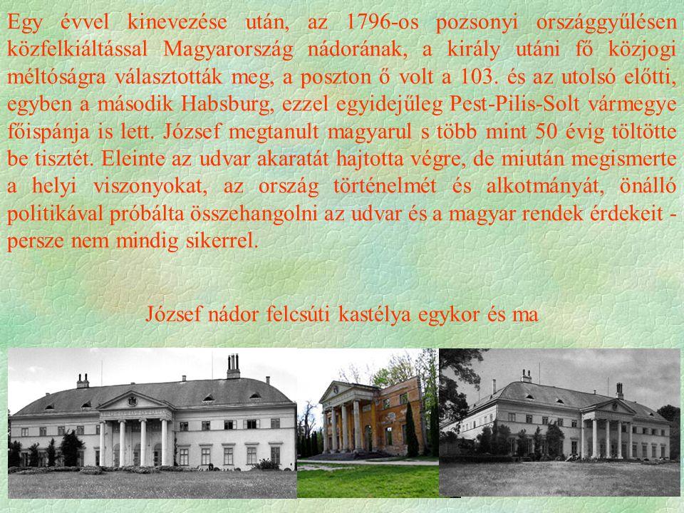József nádor felcsúti kastélya egykor és ma Egy évvel kinevezése után, az 1796-os pozsonyi országgyűlésen közfelkiáltással Magyarország nádorának, a király utáni fő közjogi méltóságra választották meg, a poszton ő volt a 103.
