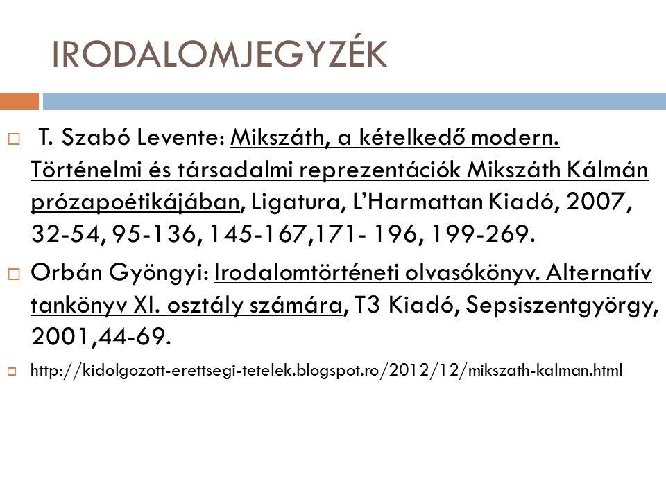 IRODALOMJEGYZÉK  T. Szabó Levente: Mikszáth, a kételkedő modern.