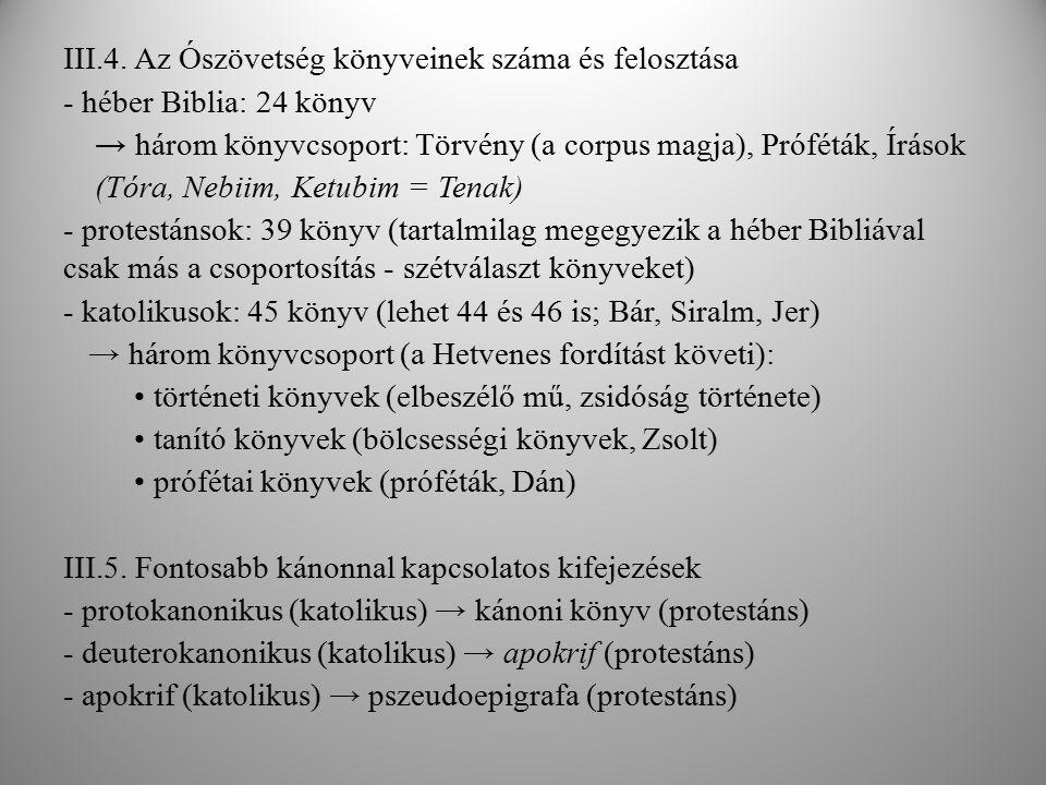 III.4. Az Ószövetség könyveinek száma és felosztása - héber Biblia: 24 könyv → három könyvcsoport: Törvény (a corpus magja), Próféták, Írások (Tóra, N