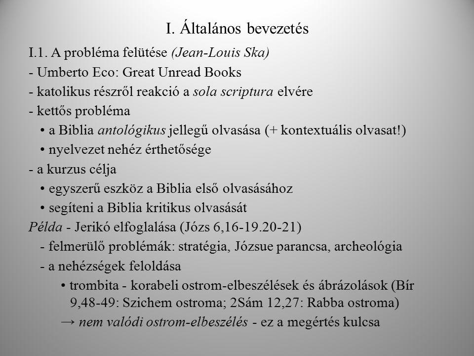 I. Általános bevezetés I.1. A probléma felütése (Jean-Louis Ska) - Umberto Eco: Great Unread Books - katolikus részről reakció a sola scriptura elvére