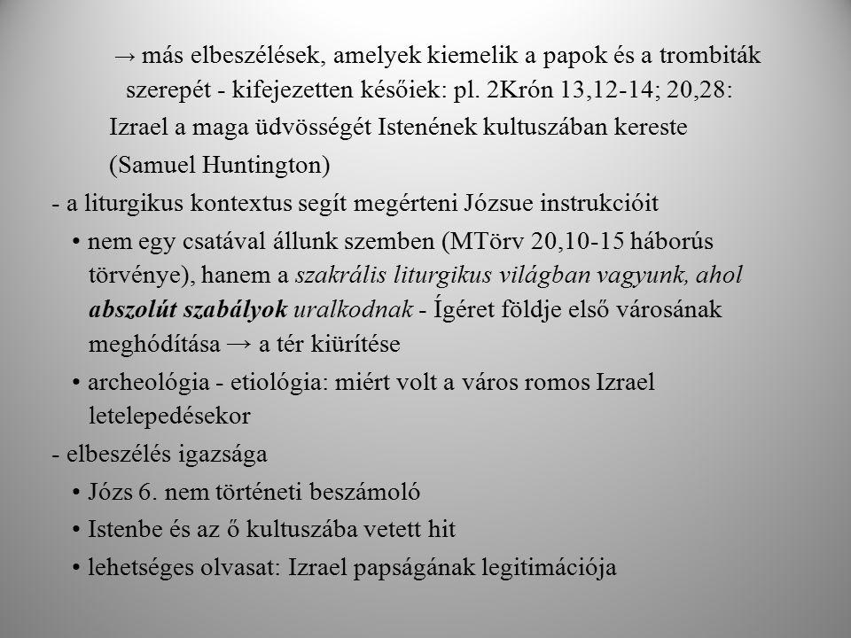 - módszertani áttekintés szakasz kritikus olvasata - összevetés az ókori Kelet dokumentumaival és a bibliai szövegekkel → a szöveg nem interpretálható egy valódi történeti esemény ábrázolásaként a szöveg liturgikus célú a történelmi és irodalmi kontextus nem teszi lehetővé a szöveg szószerinti értelmezését → Jerikó lakosainak lemészárlása szimbolikus esemény, amely valamit elmond Izrael Istenének kultuszáról; nem pedig arról, hogy milyen módon kell bánni az idegen populációval Összefoglalva jelenés terén a szentírási szövegek nem mindig közvetlenül elérhetők kell egy bizonyos jártasság: bibliai világ és az ókori Kelet nyelvezetében, kultúrájában, mentalitásában előkészület és megértést célzó erőfeszítés szükségeltetik