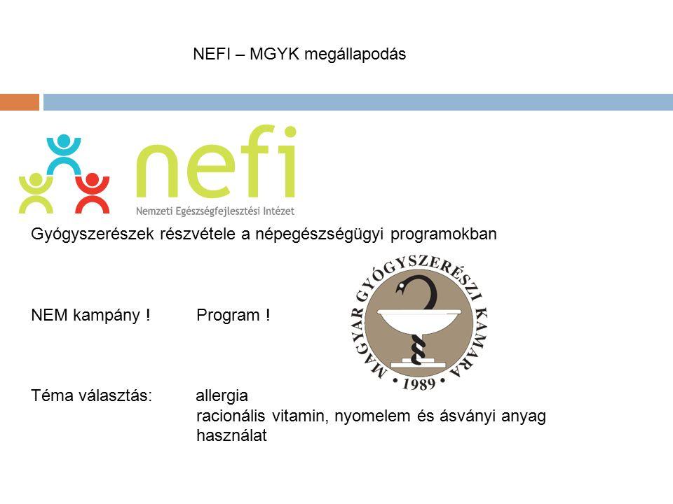 MNEFI – MGYK megállapodás Gyógyszerészek részvétele a népegészségügyi programokban NEM kampány !Program .