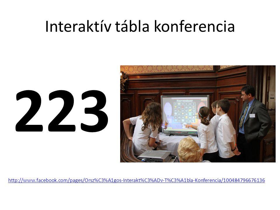 Interaktív tábla konferencia 223 http://www.facebook.com/pages/Orsz%C3%A1gos-Interakt%C3%ADv-T%C3%A1bla-Konferencia/100484796676136