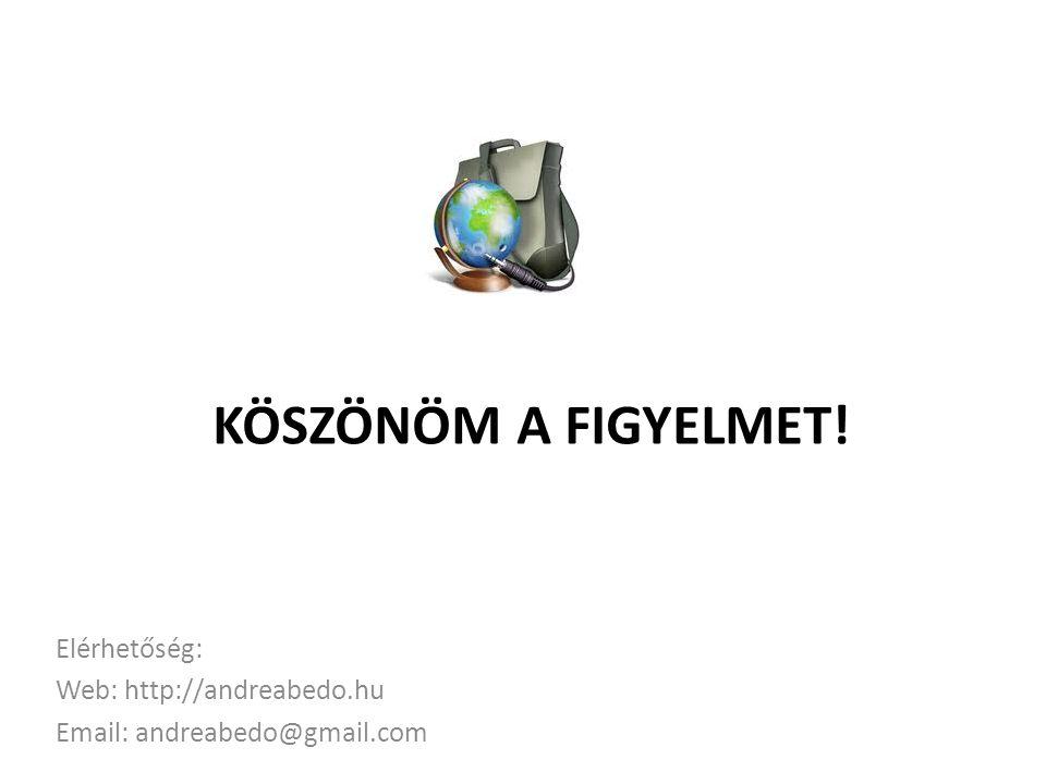 KÖSZÖNÖM A FIGYELMET! Elérhetőség: Web: http://andreabedo.hu Email: andreabedo@gmail.com