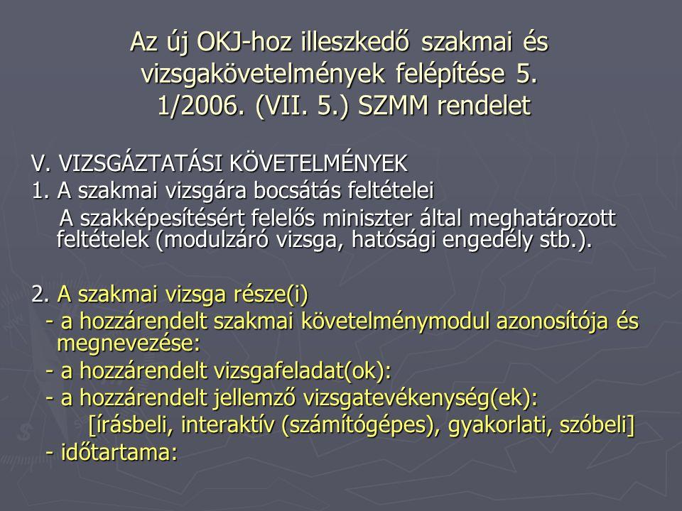 Az új OKJ-hoz illeszkedő szakmai és vizsgakövetelmények felépítése 5. 1/2006. (VII. 5.) SZMM rendelet V. VIZSGÁZTATÁSI KÖVETELMÉNYEK 1. A szakmai vizs