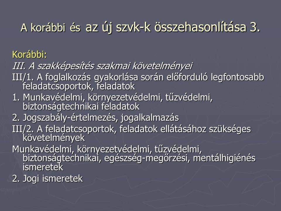 A korábbi és az új szvk-k összehasonlítása 3. Korábbi: III. A szakképesítés szakmai követelményei III/1. A foglalkozás gyakorlása során előforduló leg