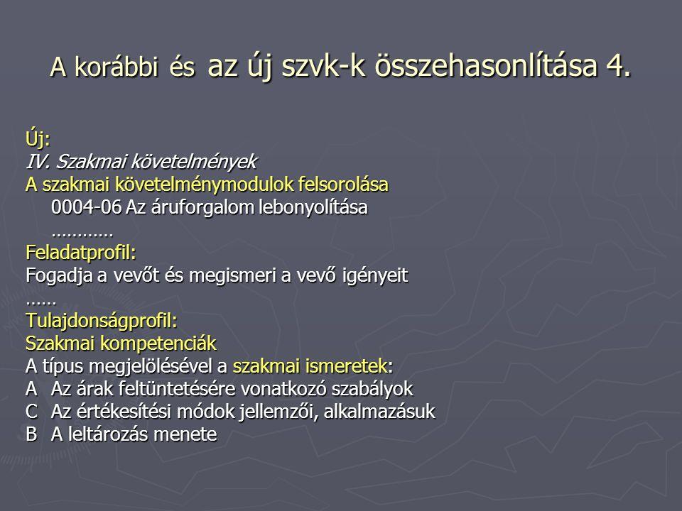 A korábbi és az új szvk-k összehasonlítása 4. Új: IV. Szakmai követelmények A szakmai követelménymodulok felsorolása 0004-06 Az áruforgalom lebonyolít
