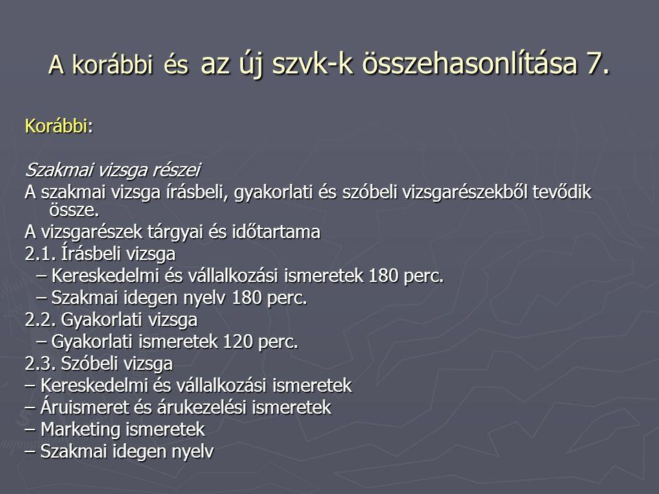 A korábbi és az új szvk-k összehasonlítása 7. Korábbi: Szakmai vizsga részei A szakmai vizsga írásbeli, gyakorlati és szóbeli vizsgarészekből tevődik