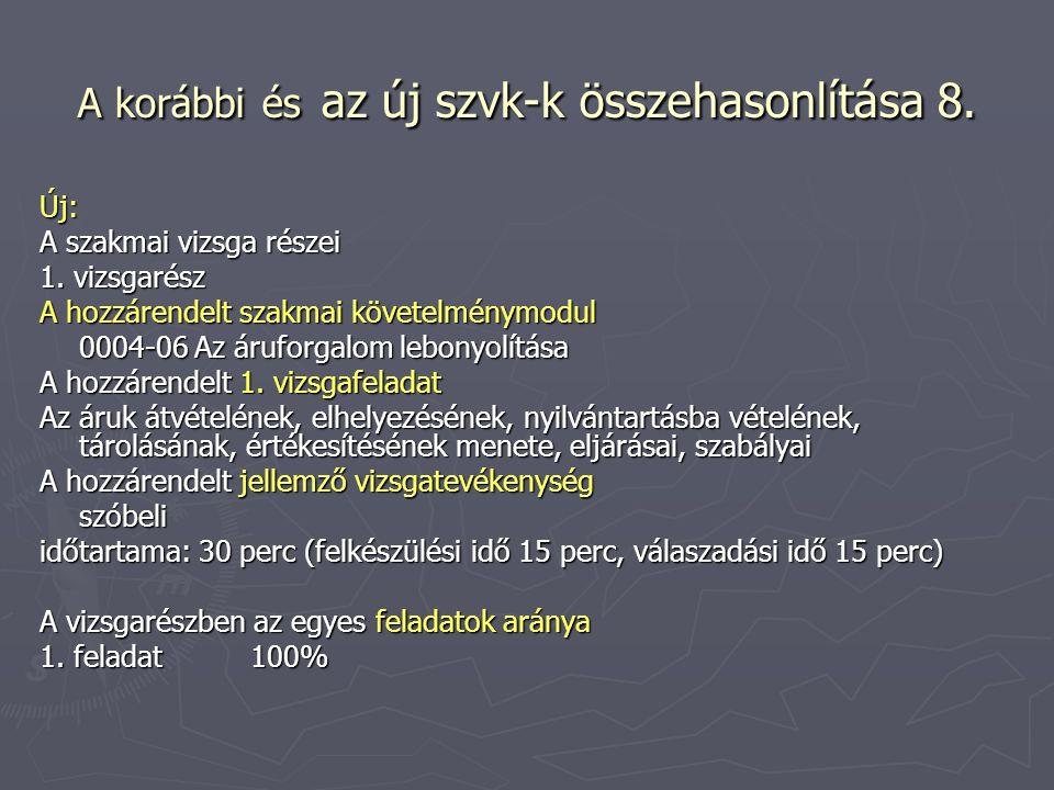 A korábbi és az új szvk-k összehasonlítása 8. Új: A szakmai vizsga részei 1.