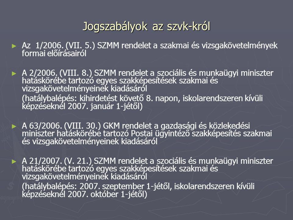 Jogszabályok az szvk-król ► ► Az 1/2006. (VII. 5.) SZMM rendelet a szakmai és vizsgakövetelmények formai előírásairól ► ► A 2/2006. (VIII. 8.) SZMM re