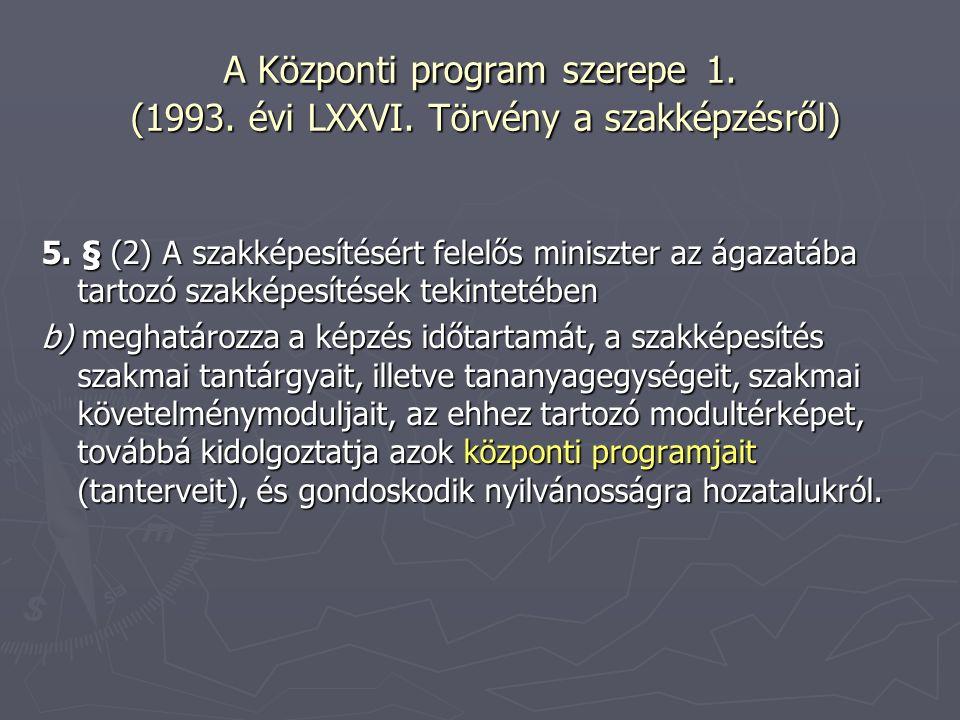 A Központi program szerepe 1. (1993. évi LXXVI. Törvény a szakképzésről) 5. § (2) A szakképesítésért felelős miniszter az ágazatába tartozó szakképesí