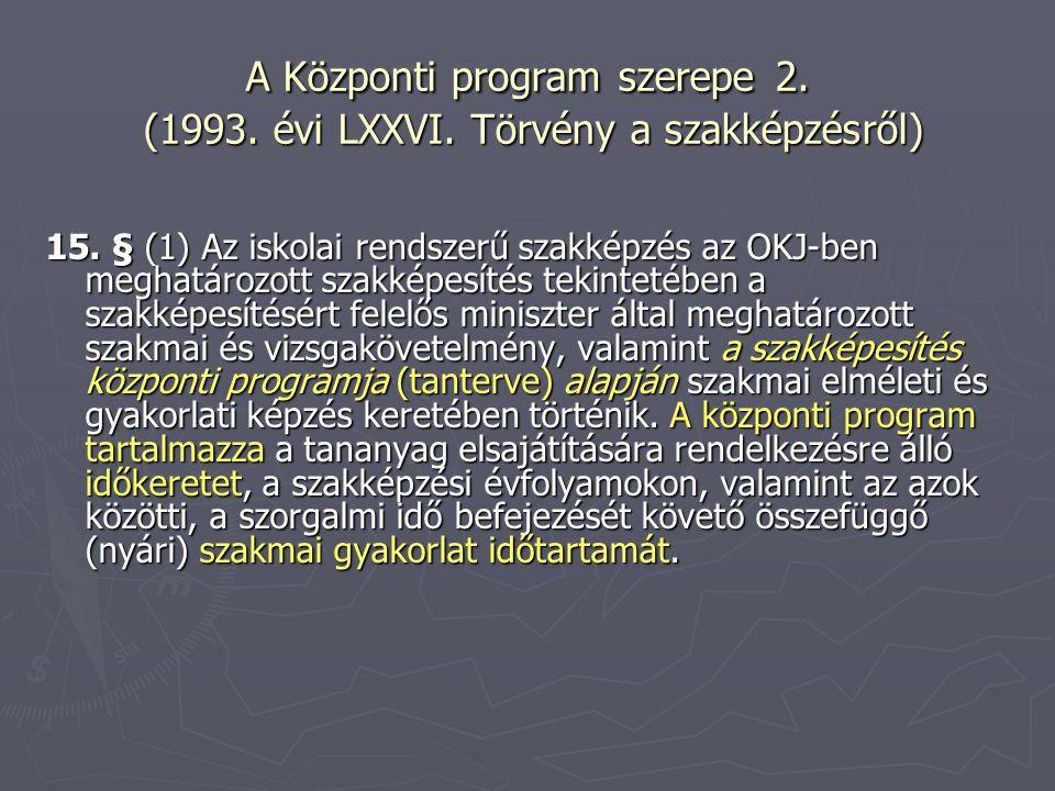 A Központi program szerepe 2. (1993. évi LXXVI. Törvény a szakképzésről) 15. § (1) Az iskolai rendszerű szakképzés az OKJ-ben meghatározott szakképesí
