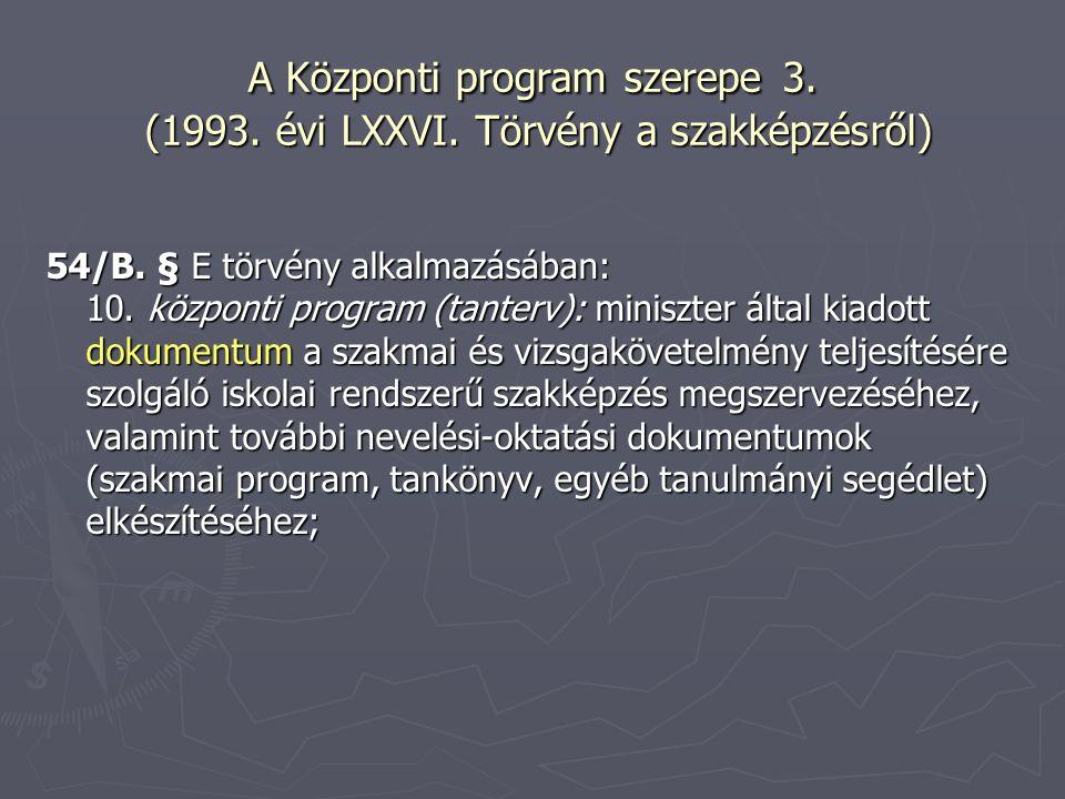 A Központi program szerepe 3. (1993. évi LXXVI. Törvény a szakképzésről) 54/B. § E törvény alkalmazásában: 10. központi program (tanterv): miniszter á