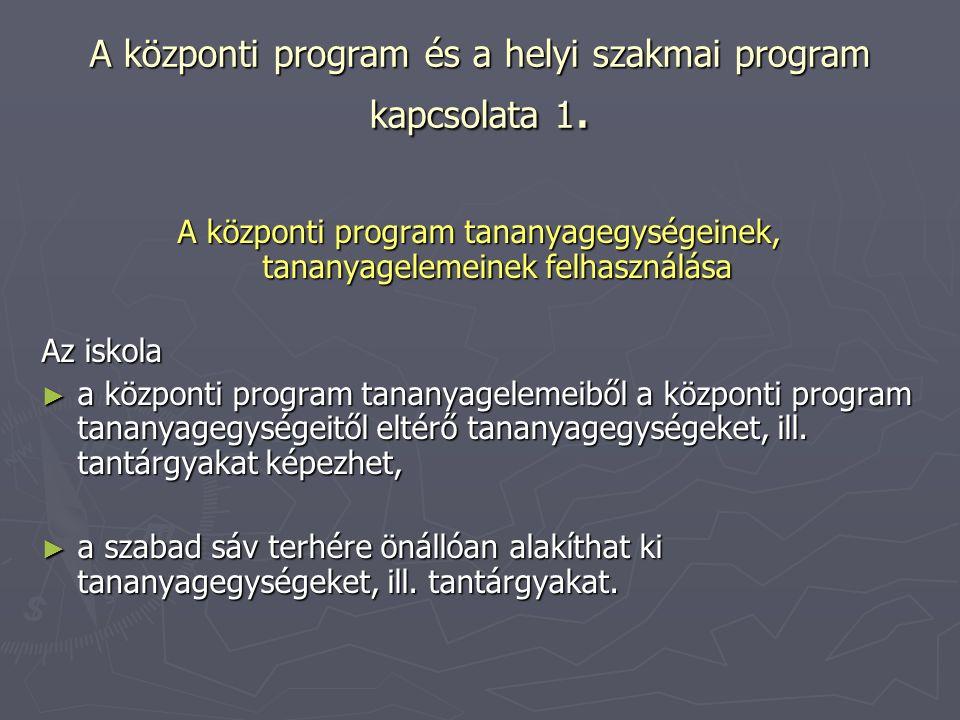 A központi program és a helyi szakmai program kapcsolata 1. A központi program tananyagegységeinek, tananyagelemeinek felhasználása Az iskola ► a közp