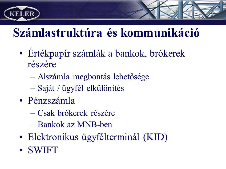 Számlastruktúra és kommunikáció Értékpapír számlák a bankok, brókerek részére –Alszámla megbontás lehetősége –Saját / ügyfél elkülönítés Pénzszámla –Csak brókerek részére –Bankok az MNB-ben Elektronikus ügyfélterminál (KID) SWIFT