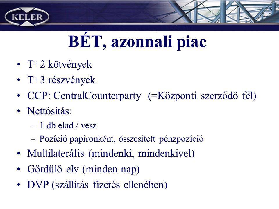 BÉT, azonnali piac T+2 kötvények T+3 részvények CCP: CentralCounterparty (=Központi szerződő fél) Nettósítás: –1 db elad / vesz –Pozíció papíronként, összesített pénzpozíció Multilaterális (mindenki, mindenkivel) Gördülő elv (minden nap) DVP (szállítás fizetés ellenében)