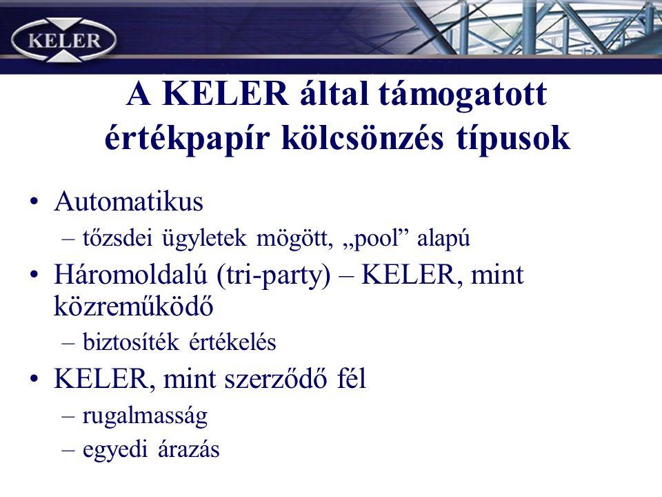 """A KELER által támogatott értékpapír kölcsönzés típusok Automatikus –tőzsdei ügyletek mögött, """"pool alapú Háromoldalú (tri-party) – KELER, mint közreműködő –biztosíték értékelés KELER, mint szerződő fél –rugalmasság –egyedi árazás"""