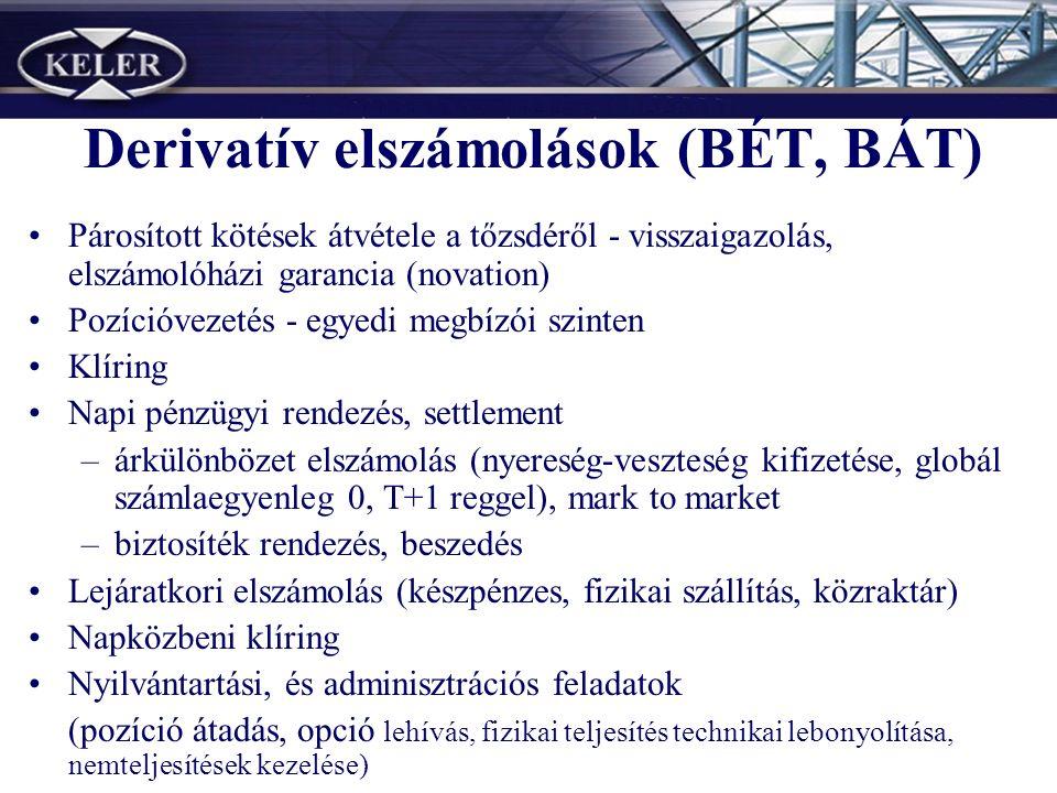 Derivatív elszámolások (BÉT, BÁT) Párosított kötések átvétele a tőzsdéről - visszaigazolás, elszámolóházi garancia (novation) Pozícióvezetés - egyedi megbízói szinten Klíring Napi pénzügyi rendezés, settlement –árkülönbözet elszámolás (nyereség-veszteség kifizetése, globál számlaegyenleg 0, T+1 reggel), mark to market –biztosíték rendezés, beszedés Lejáratkori elszámolás (készpénzes, fizikai szállítás, közraktár) Napközbeni klíring Nyilvántartási, és adminisztrációs feladatok (pozíció átadás, opció lehívás, fizikai teljesítés technikai lebonyolítása, nemteljesítések kezelése)