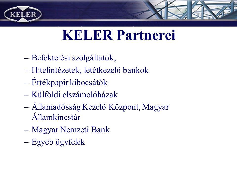 KELER Partnerei –Befektetési szolgáltatók, –Hitelintézetek, letétkezelő bankok –Értékpapír kibocsátók –Külföldi elszámolóházak –Államadósság Kezelő Központ, Magyar Államkincstár –Magyar Nemzeti Bank –Egyéb ügyfelek