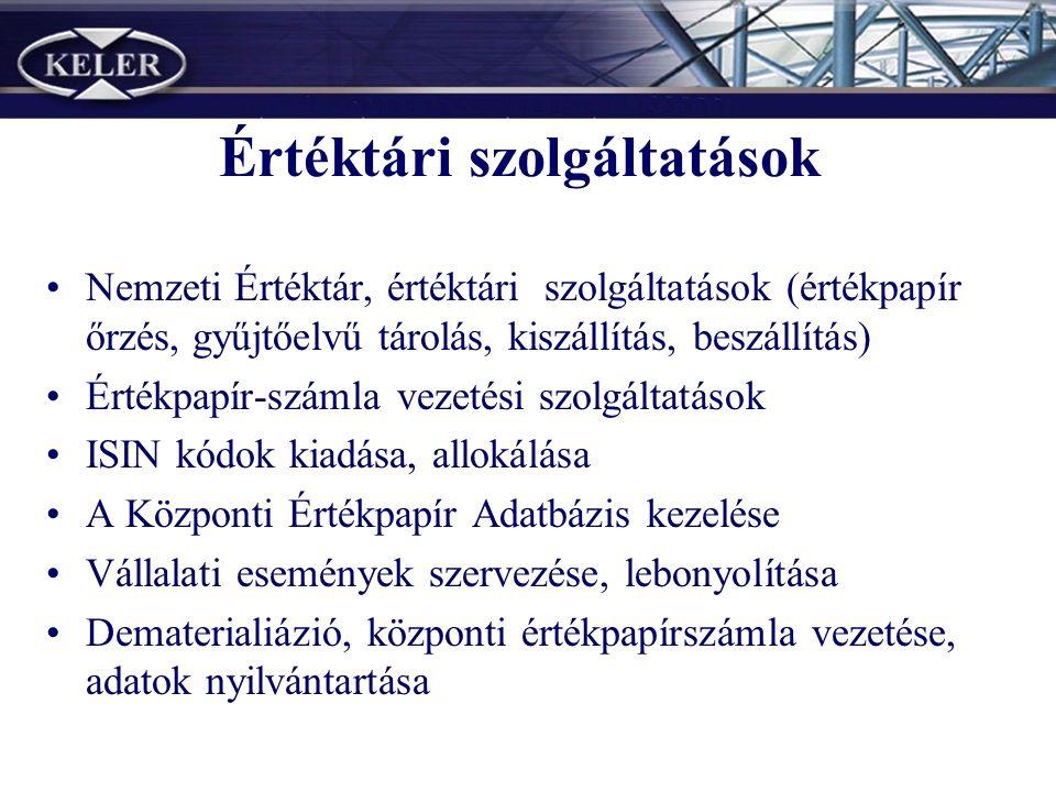 Értéktári szolgáltatások Nemzeti Értéktár, értéktári szolgáltatások (értékpapír őrzés, gyűjtőelvű tárolás, kiszállítás, beszállítás) Értékpapír-számla vezetési szolgáltatások ISIN kódok kiadása, allokálása A Központi Értékpapír Adatbázis kezelése Vállalati események szervezése, lebonyolítása Dematerialiázió, központi értékpapírszámla vezetése, adatok nyilvántartása