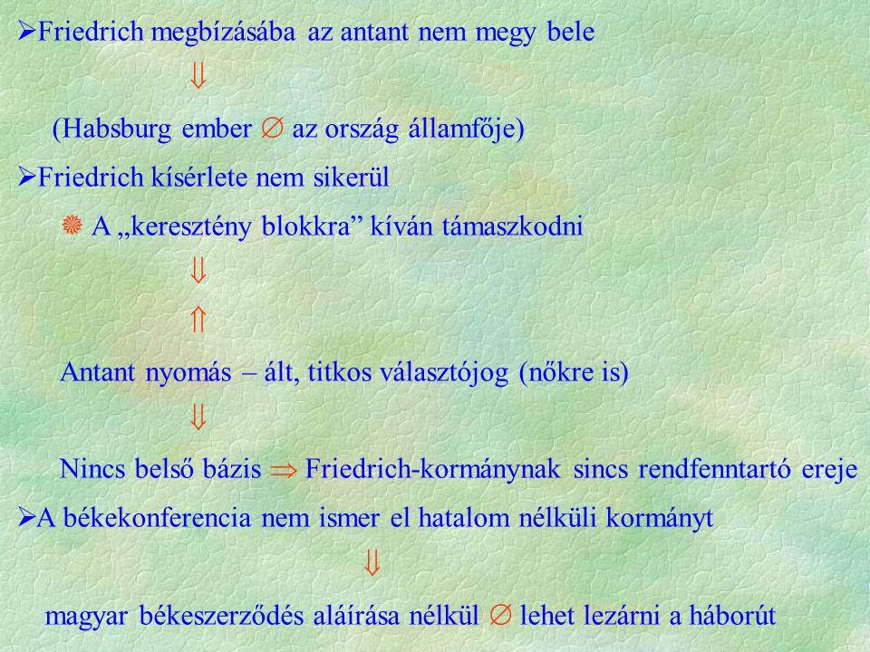 """ Friedrich megbízásába az antant nem megy bele  (Habsburg ember  az ország államfője)  Friedrich kísérlete nem sikerül  A """"keresztény blokkra kíván támaszkodni   Antant nyomás – ált, titkos választójog (nőkre is)  Nincs belső bázis  Friedrich-kormánynak sincs rendfenntartó ereje  A békekonferencia nem ismer el hatalom nélküli kormányt  magyar békeszerződés aláírása nélkül  lehet lezárni a háborút"""