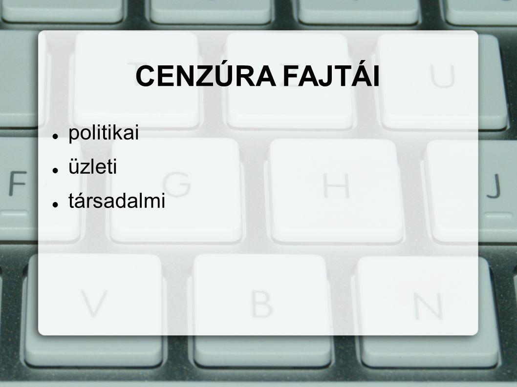 politikai üzleti társadalmi CENZÚRA FAJTÁI