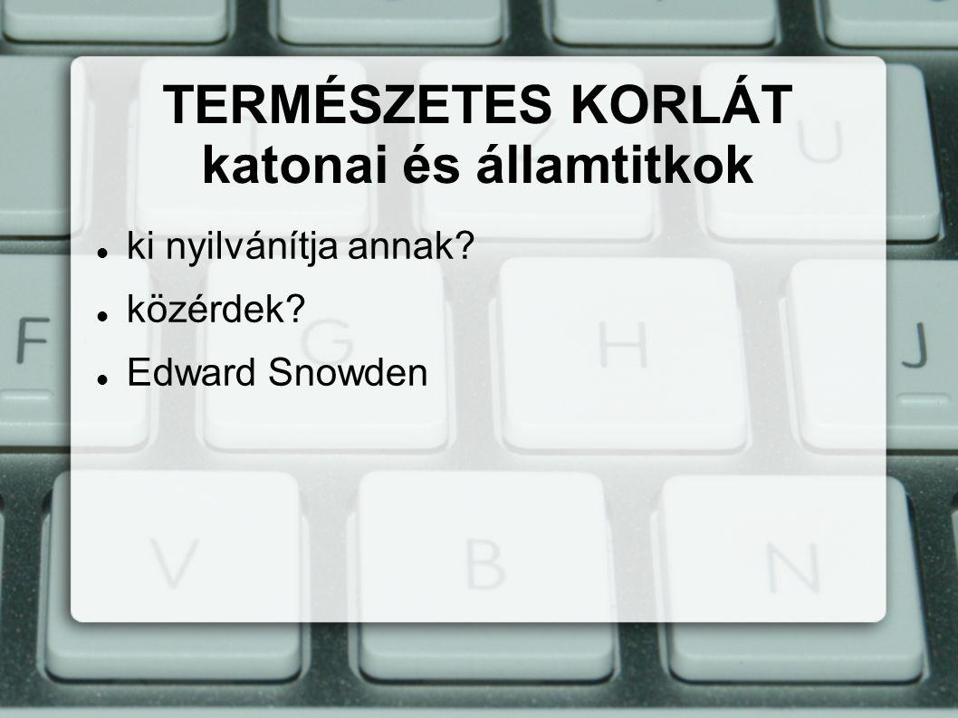 ki nyilvánítja annak közérdek Edward Snowden TERMÉSZETES KORLÁT katonai és államtitkok