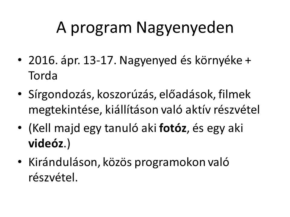 A program Nagyenyeden 2016. ápr. 13-17. Nagyenyed és környéke + Torda Sírgondozás, koszorúzás, előadások, filmek megtekintése, kiállításon való aktív