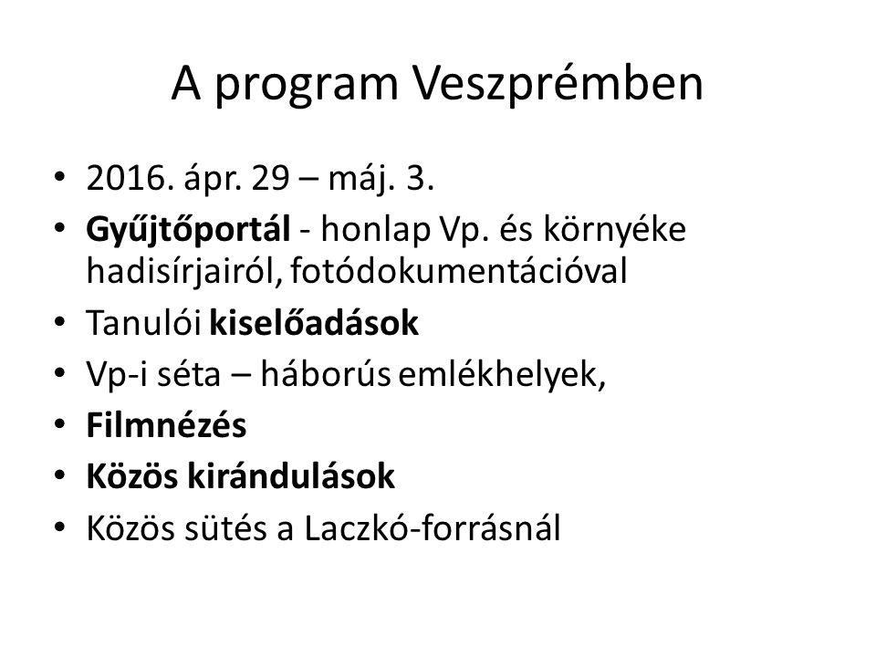 A program Veszprémben 2016. ápr. 29 – máj. 3. Gyűjtőportál - honlap Vp. és környéke hadisírjairól, fotódokumentációval Tanulói kiselőadások Vp-i séta