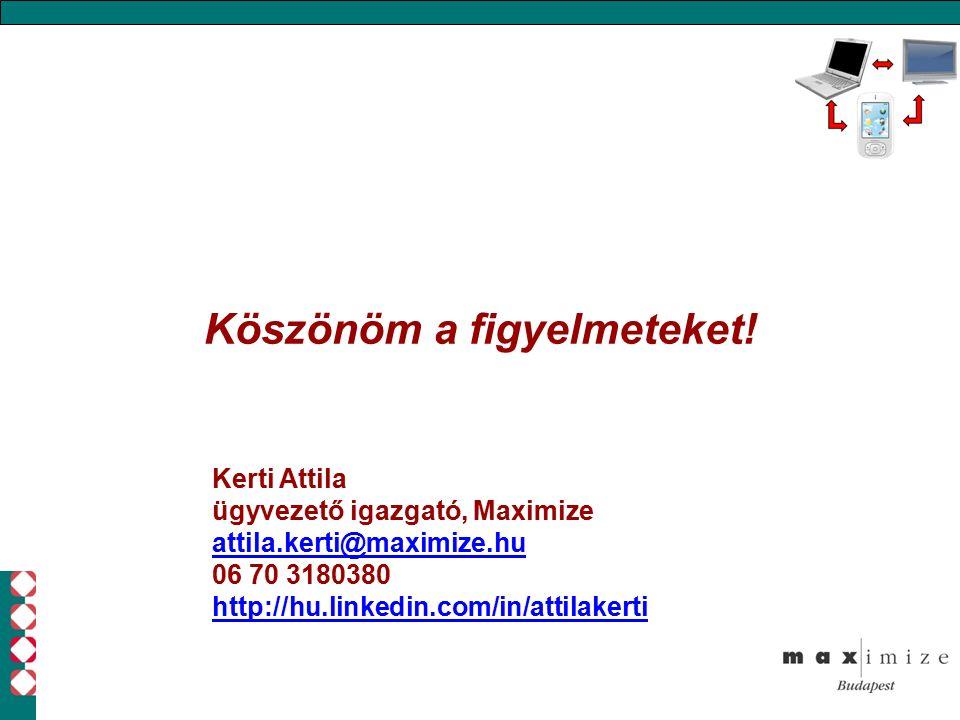 Köszönöm a figyelmeteket! Kerti Attila ügyvezető igazgató, Maximize attila.kerti@maximize.hu 06 70 3180380 http://hu.linkedin.com/in/attilakerti