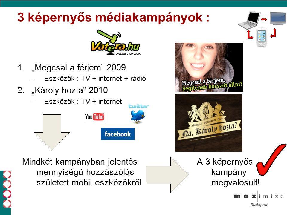 """3 képernyős médiakampányok : 1.""""Megcsal a férjem 2009 –Eszközök : TV + internet + rádió 2.""""Károly hozta 2010 –Eszközök : TV + internet Mindkét kampányban jelentős mennyiségű hozzászólás született mobil eszközökről A 3 képernyős kampány megvalósult!"""