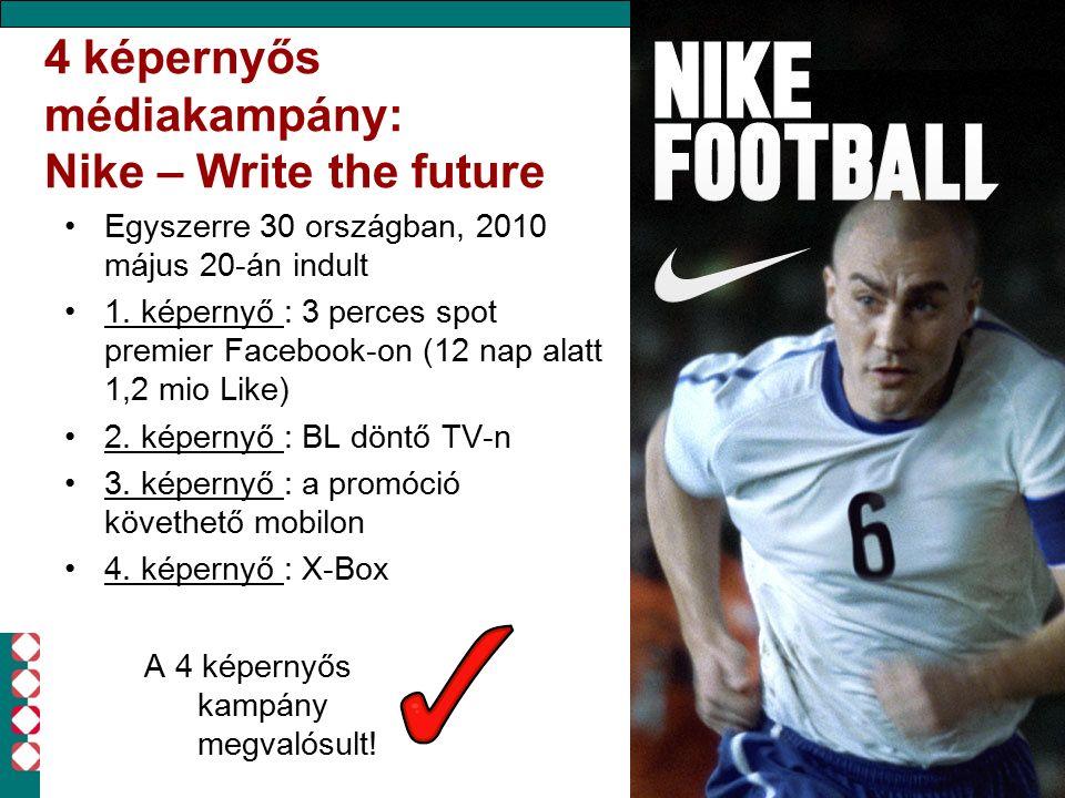 4 képernyős médiakampány: Nike – Write the future Egyszerre 30 országban, 2010 május 20-án indult 1. képernyő : 3 perces spot premier Facebook-on (12