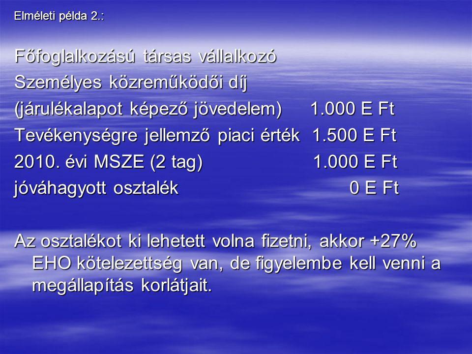 Elméleti példa 2.: Főfoglalkozású társas vállalkozó Személyes közreműködői díj (járulékalapot képező jövedelem) 1.000 E Ft Tevékenységre jellemző piaci érték 1.500 E Ft 2010.
