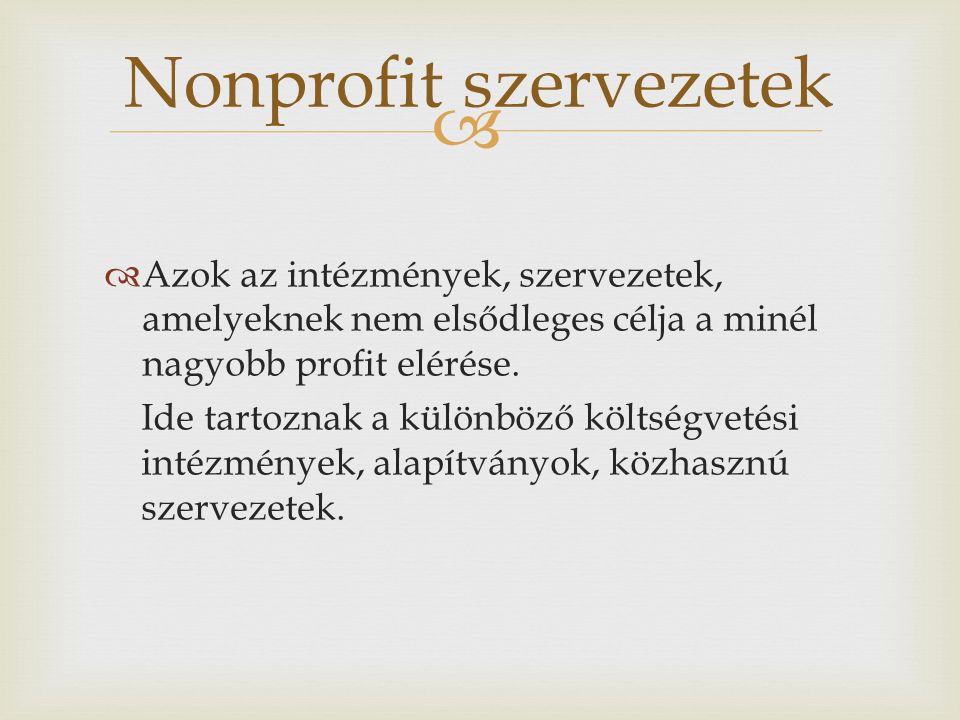  Azok az intézmények, szervezetek, amelyeknek nem elsődleges célja a minél nagyobb profit elérése. Ide tartoznak a különböző költségvetési intézmén